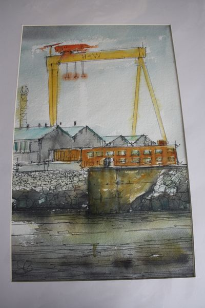S McClean Original Watercolour of Belfast Harbour