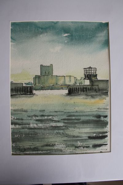 S McClean Original Watercolur Carrickfergus Castle