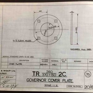 Harland & Wolff Engineering Drawing 20/66106