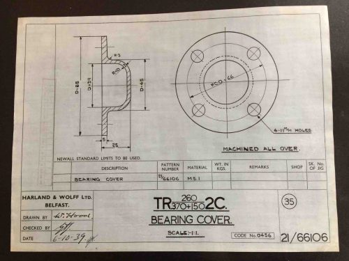 Harland & Wolff Engineering Drawing 21/66106
