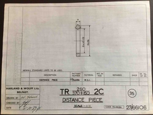 Harland & Wolff Engineering Drawing 23/66106