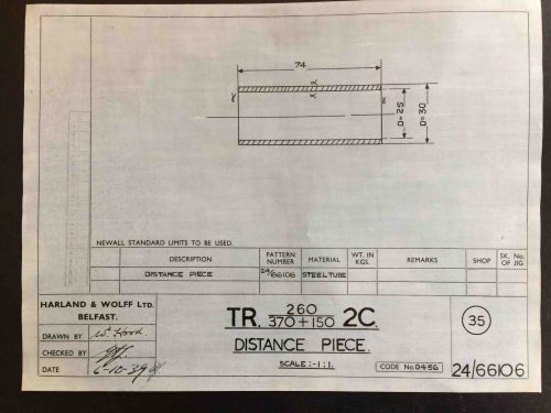 Harland & Wolff Engineering Drawing 24/66106