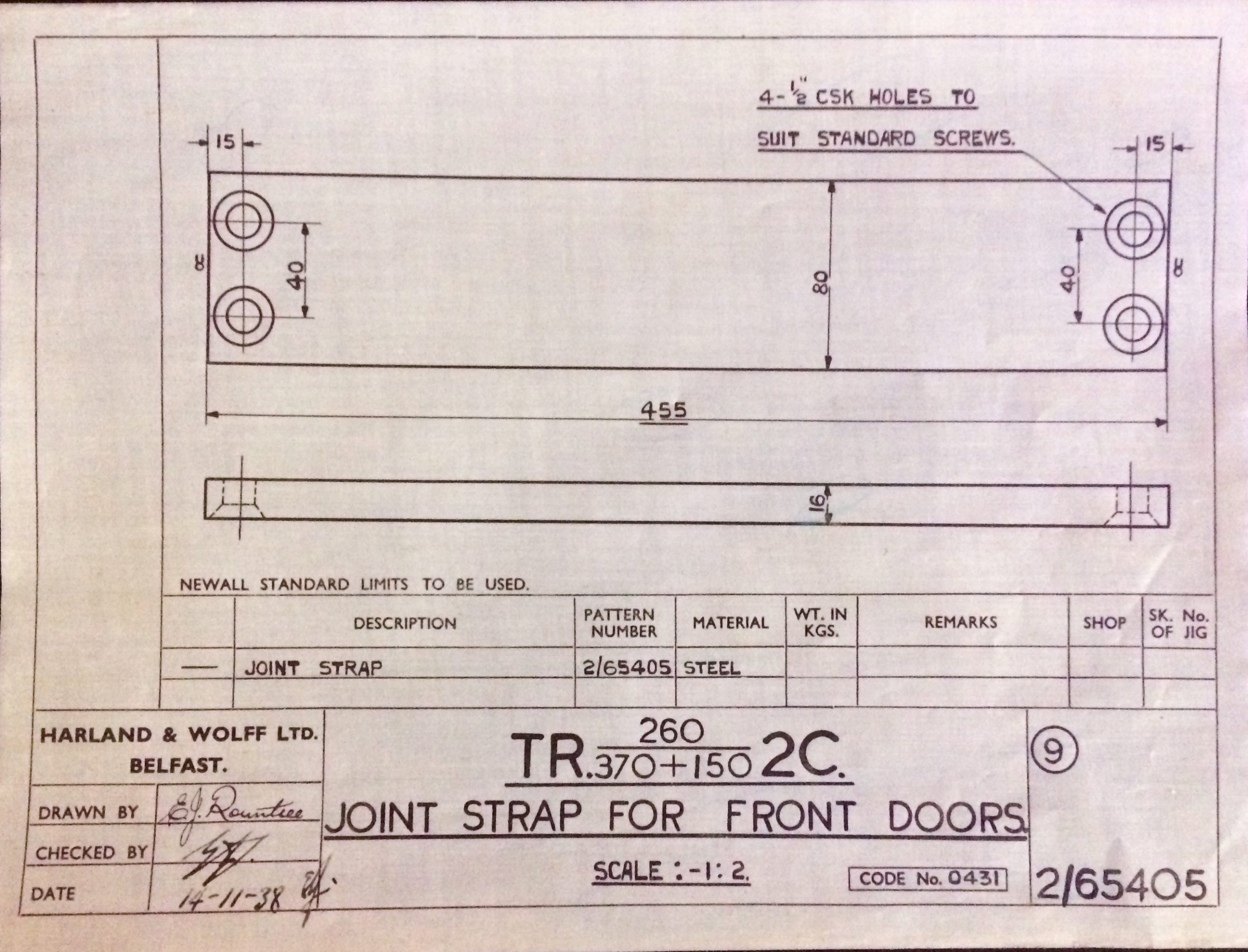 Harland & Wolff Engineering Drawing 30/2/65405