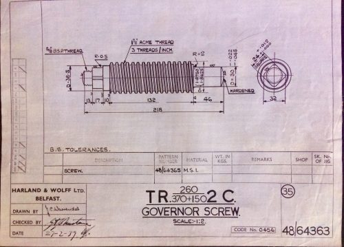 Harland & Wolff Engineering Drawing 33/48/64363