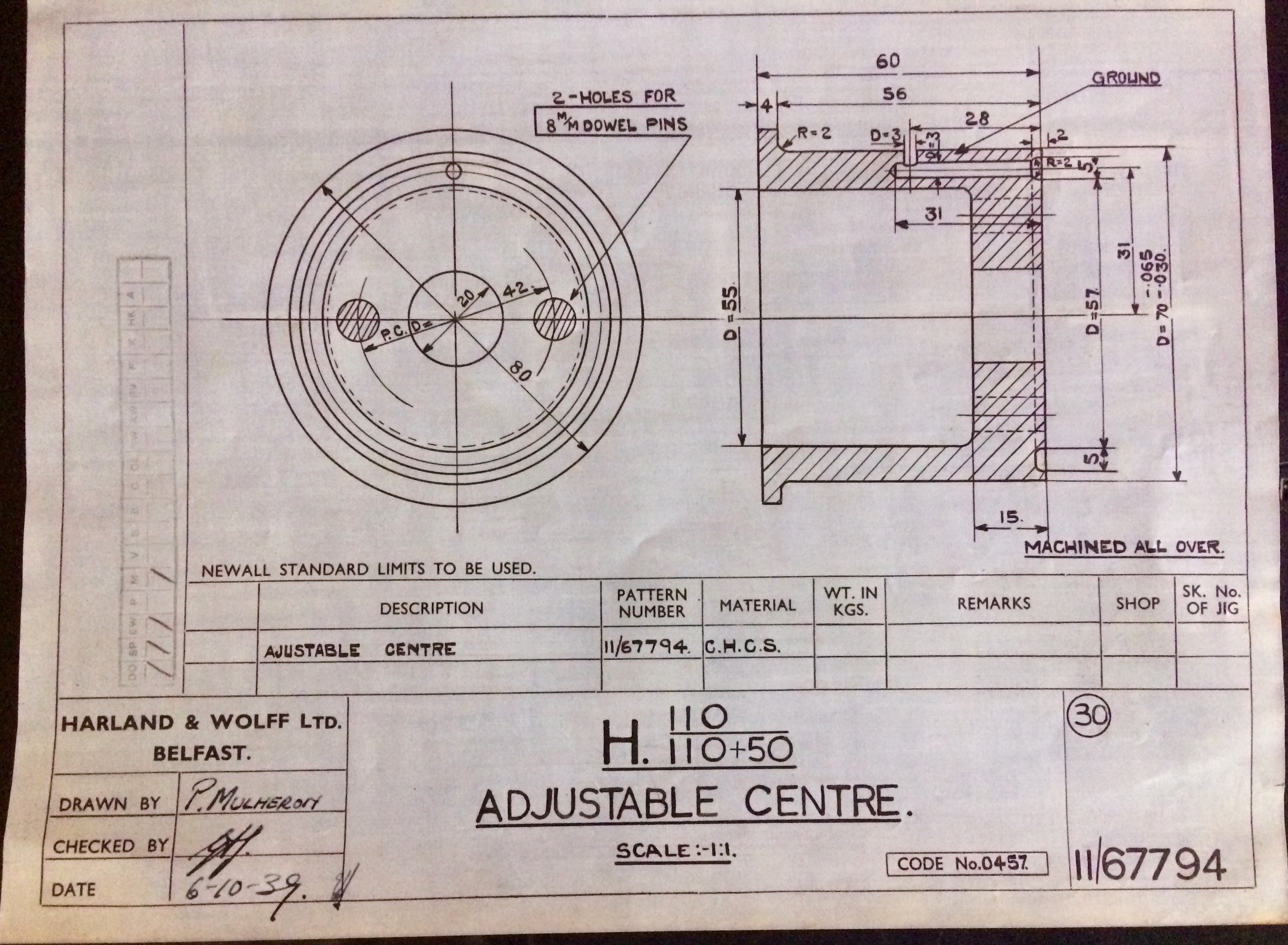 Harland & Wolff Engineering Drawing 34/11/67794