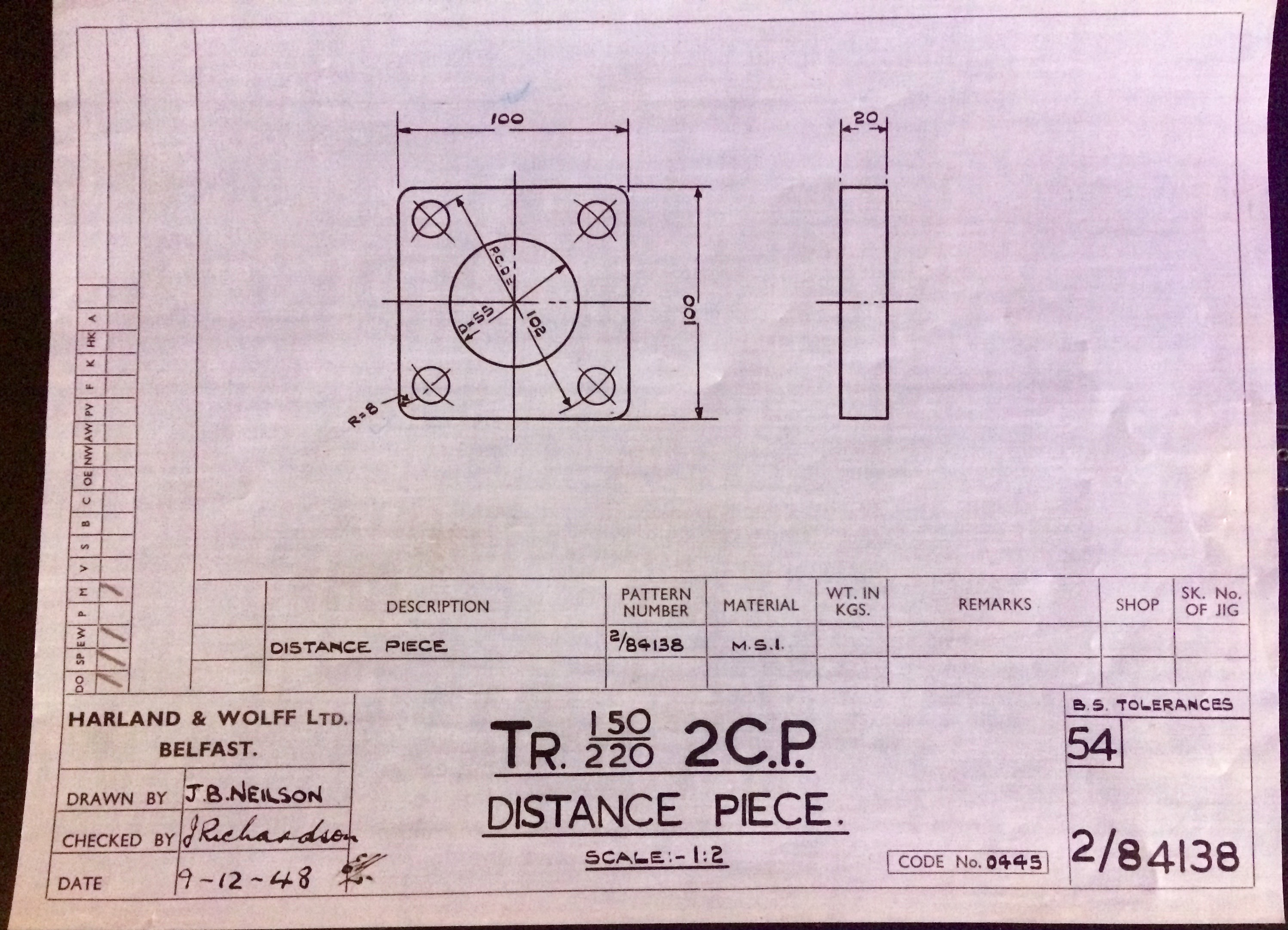 Harland & Wolff Engineering Drawing 35/2/84138