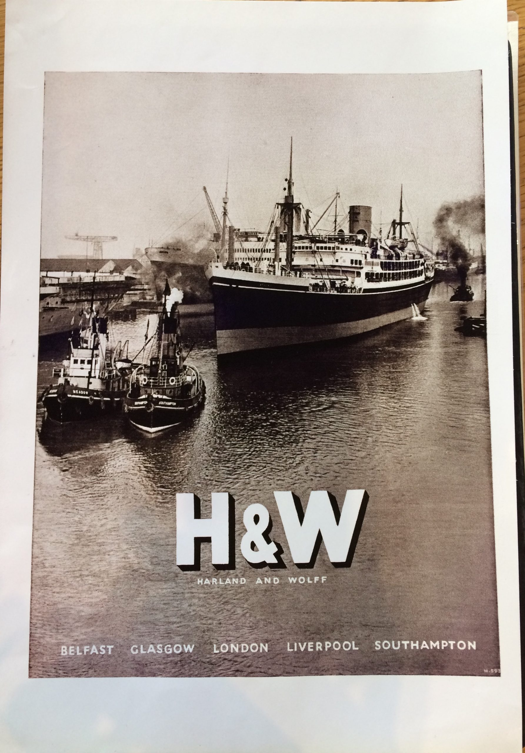 H&W Harland & Wolff Black and White Photograph