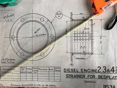 Harland & Wolff Engineering Drawing of a Strainer for a Bedplate 1153A